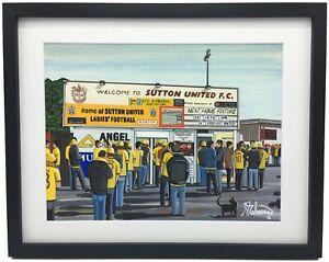 Sutton Utd, Gander Green Lane Stadium High Quality Framed Art Print. Approx A4.
