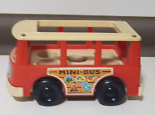 OLD FISHER PRICE LITTLE PEOPLE MINIBUS! ABOUT 15CM LONG LEARNING KIDS TOY!