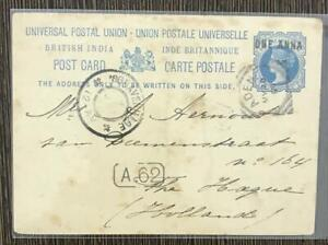 INDIA USED IN ADEN 1889 VICTORIA POSTCARD TO HOLLAND
