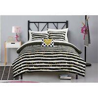 Gold Black White Comforter Set Sheet Set Love Design Girls 7PC Bedding Queen NEW