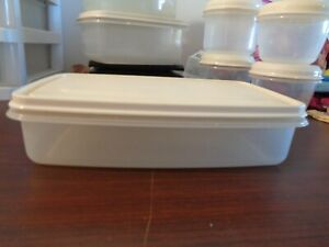 Vtg RUBBERMAID Servin Saver #6 Rectangula Sheer Container 7 cups  W Almond Lid