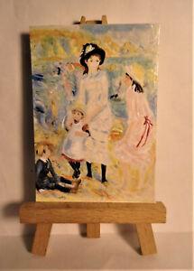 Children Seashore Guerensey ACEO Original PAINTING by Ray Dicken a Pierre Renoir