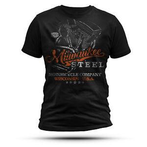 MILWAUKEE STEEL T-Shirt Schwarz // Biker T-Shirts Männer Harley Davidson Himora