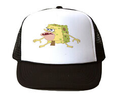 Spongebob Caveman Trucker Hat Mesh Cap Snapback Adjustable New-Black/White