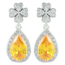 Schmuck CZ 18K White Gold Plated Pear Cut Dangle Drop Yellow Citrine Earrings