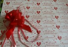 2 SHEETS RUBY WEDDING GIFT WRAP & PULL BOW 40TH ANNIVERSARY PAPER