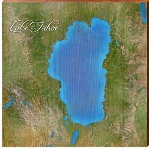 Lake Tahoe, California Satellite Map Wall Art