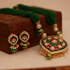 Indian Bollywood Green Meenakari Gold Tone Pendant Traditional Necklace Earrings