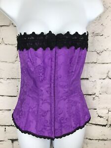 Fredericks of Hollywood Dream Corset 34 Purple Black Lace Up Back Floral Print