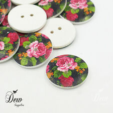 10 x 18mm Buttons printed rose wooden 1 inch 2 hole button sewing findings