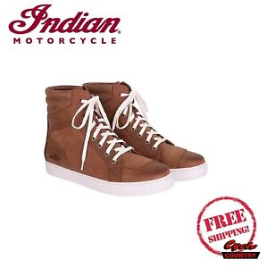INDIAN MOTORCYCLE BRAND MEN'S BROWN LEATHER BOYD SNEAKERS