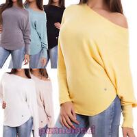 Maglione donna pullover elasticizzato righe maniche pipistrello nuovo R7138A