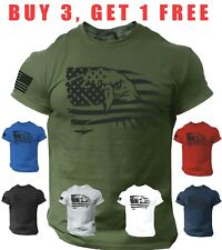 USA Flag T Shirt Eagle Patriotic American Army Style Tee Shirt