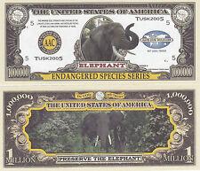 Two Elephant Endangered Animal Novelty Money Bills # 219