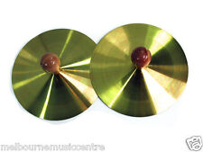 """PERCUSSION CYMBALS 5"""" Pair Of Cymbals, Brass Alloy With Woodern Knobs NEW!"""