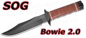 S.O.G. SOG Bowie 2.0 Black TiNi w/ Leather Sheath S1T-L
