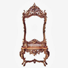 Baroque Mirror Table Console Carved Wood