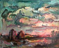 painting art Evdushenko socialist realism vintage landscape old impressionism