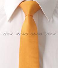 Oranger Solid Plain Men Skinny Slim Narrow Woven Silk 6.5 cm Wedding Neck Tie