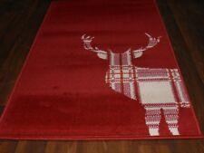 NEW MATS/RUG NOVELTY DESIGN 80CMX150CM BARGAINS STANDING CHECK STAG CREAM/RED