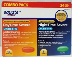 Equate Severe Cold & Flu 16 DayTime 8 NightTime Maximum Strength 24 Caplets New