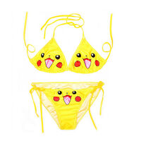 Lovely Pokemon Smile Face Emojis Printed Halte Bikini Set Swimming Suit Swimwear