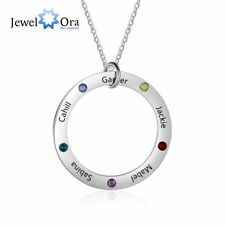 Family Gift Personalized & 5 Birthstone Engrave Name Necklace Jewelry For Mother