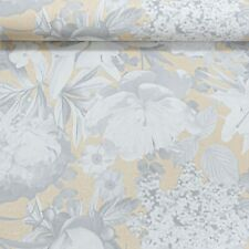 Metallic Gold Grey Flowers Floral Non Woven Vinyl Feature Wallpaper 02507-40
