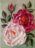 Pink Roses Original Textured oil painting Botanical Floral still life 5 x 7 in