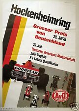 Orginal Plakat - GROSSER PREIS VON DEUTSCHLAND 1978 - GP Hockenheimring Formel 1
