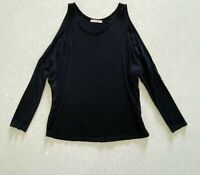 Black Open-Shoulder Longsleeve Top Sz L