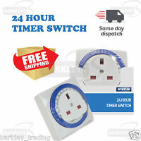 PROGRAMMABLE 24 HOUR TIMER SWITCH 3 PIN UK MAINS WALL HOME SOCKET PLUG  NEW