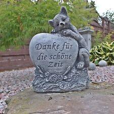 Steinfigur frostfest Haust Grabschmuck Katze Danke für die schöne Zeit Steinguss