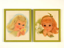 Vintage Girl with Flowers Frances Hook Northern Tissue Pair Framed Prints 11x14