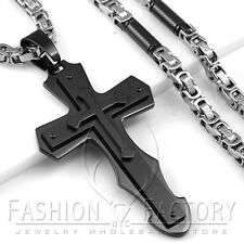 Men's Stainless Steel Black Heavy Big Large Cross Pendant Necklace Cool Punk P62