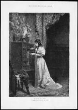 1892 fine art antique à imprimer sa photo HERMANN Vogler Munich Lady (228)