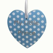 Baby - Hanging Plaque - Heart - Blue & White polka dot - My little Prince