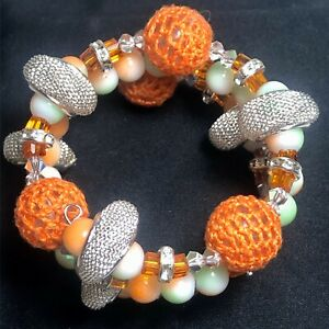 One of a Kind Handcrafted Memory Wire Bracelet-VariousBeads & Swarovski Crystals