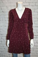 COTTON ON Brand Dark Red Woven Dotti Long Sleeve Day Dress Size S BNWT #SC88