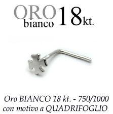 Piercing naso nose ORO BIANCO 18kt. a QUADRIFOGLIO portafortuna white gold 18kt