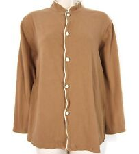 Shanghai Tang Womens Shirt S Brown Chinese Rope Knot Buttons Knit Long Sleeve