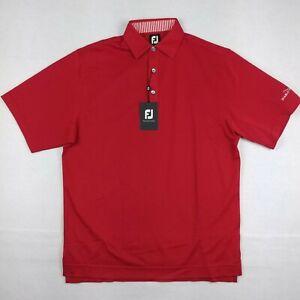 FJ FootJoy Men Medium M Polo Golf Shirt Red Solid Stretch Pique Short Sleeve NWT