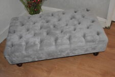 Chesterfield  Deep Button Large Footstool in Casino Crush Light Grey Fabric
