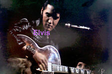 ELVIS PRESLEY IN BLACK LEATHER WITH GUITAR 1968 TV SPECIAL PHOTO CANDID ZZAG