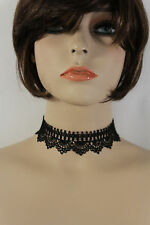 Women Black Lace Fabric Beads Fashion Choker Necklace Jewelry Earring Set Gothic
