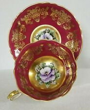 Scarce Paragon Bone China Cup & Saucer, Maroon and Gold with Pansies
