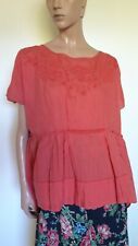 NEW * HIGH USE Claire Campbell top tshirt tunica ricamata rosso ciliegia 48 XL