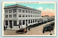 Anaheim, CA - EARLY 1900s STREET SCENE VIEW OF BANK - OLD CARS - POSTCARD