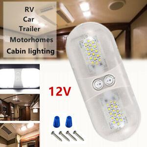 1*Double Dome Ceiling Light Roof LED SMD 12V Interior Camper Car RV Boat Trailer