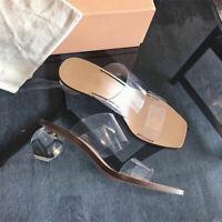 Women's Clear Summer Sandals Transparent Irregular Round Heel Casual Slippers